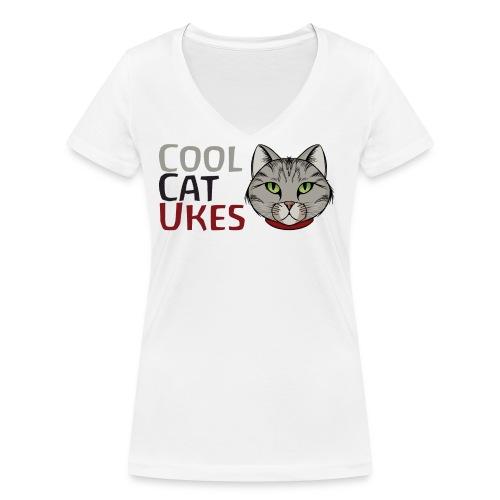 Cool Cat Ukes - Women's Organic V-Neck T-Shirt by Stanley & Stella