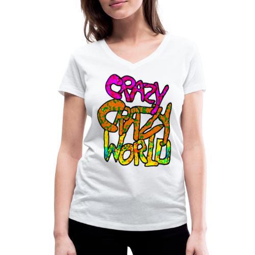 kleurige crazy crazy world - Vrouwen bio T-shirt met V-hals van Stanley & Stella