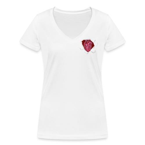 CUORE BATTICUORE - T-shirt ecologica da donna con scollo a V di Stanley & Stella