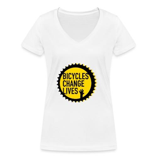 BCL Shirt Back White - Women's Organic V-Neck T-Shirt by Stanley & Stella