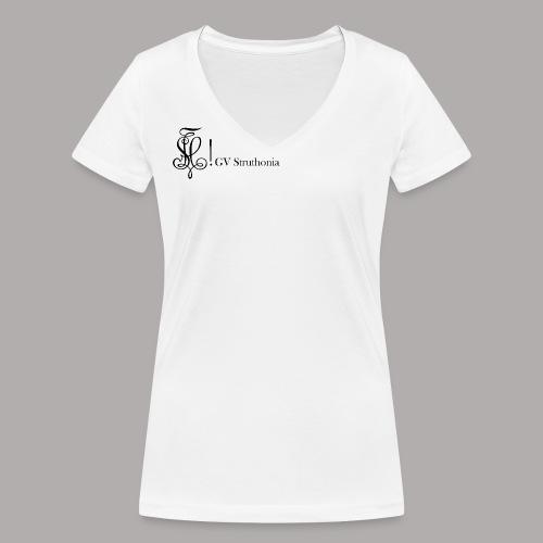 Zirkel mit Name, schwarz (vorne) - Frauen Bio-T-Shirt mit V-Ausschnitt von Stanley & Stella