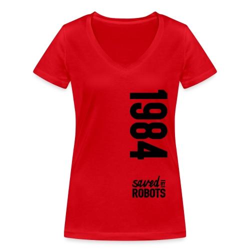 1984 / Saved By Robots Premium Tote Bag - Women's Organic V-Neck T-Shirt by Stanley & Stella