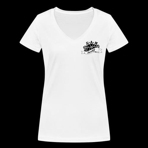 SamShaky - Stanley & Stellan naisten v-aukkoinen luomu-T-paita