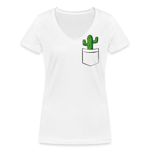 Kaktus in der Tasche – lustige Geschenkidee - Frauen Bio-T-Shirt mit V-Ausschnitt von Stanley & Stella