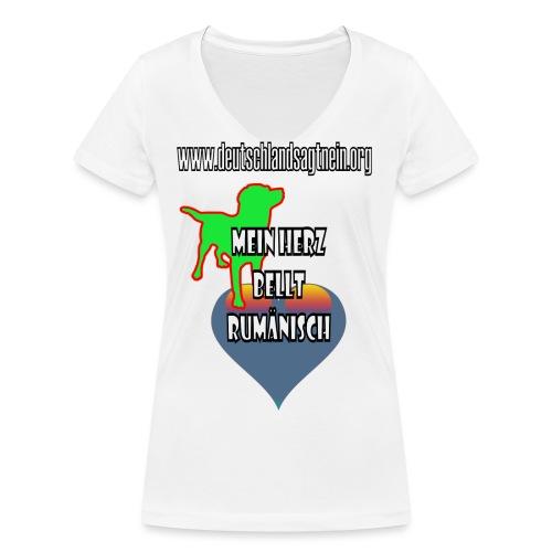 Herz bellt rumänisch - Frauen Bio-T-Shirt mit V-Ausschnitt von Stanley & Stella