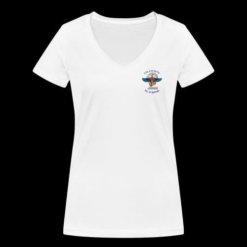 ANCIENS2 logo texte bleu detoure BD png - T-shirt bio col V Stanley & Stella Femme