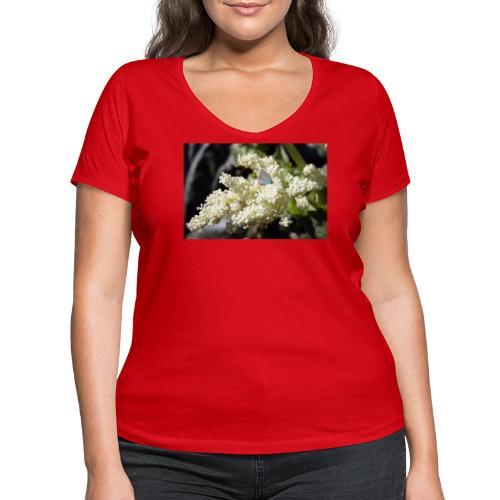 Perhonen raparperin kukalla - Stanley & Stellan naisten v-aukkoinen luomu-T-paita