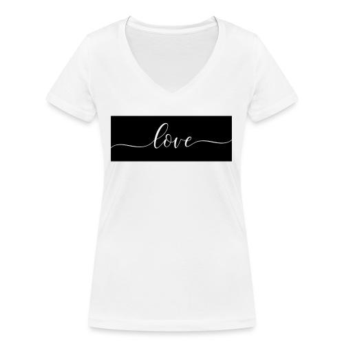 Love Schwarz - Frauen Bio-T-Shirt mit V-Ausschnitt von Stanley & Stella