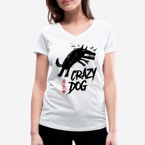 verrückter verrückter Hund - Frauen Bio-T-Shirt mit V-Ausschnitt von Stanley & Stella