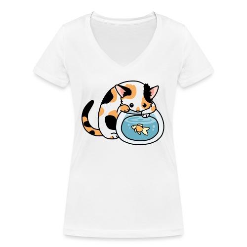 Katze mit Fisch im Glas - Frauen Bio-T-Shirt mit V-Ausschnitt von Stanley & Stella