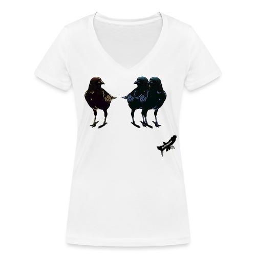 Crows by BlackenedMoonArts, with logo - Økologisk Stanley & Stella T-shirt med V-udskæring til damer