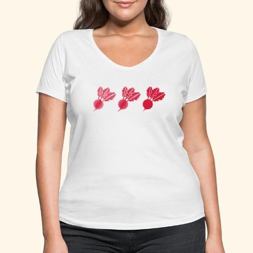 Top rábano - Camiseta ecológica mujer con cuello de pico de Stanley & Stella
