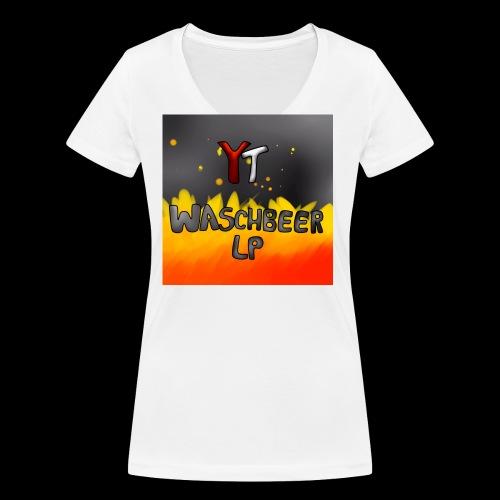 Waschbeer Design 2# Mit Flammen - Frauen Bio-T-Shirt mit V-Ausschnitt von Stanley & Stella