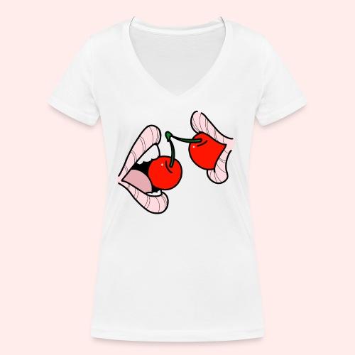 Cherry lips - Frauen Bio-T-Shirt mit V-Ausschnitt von Stanley & Stella