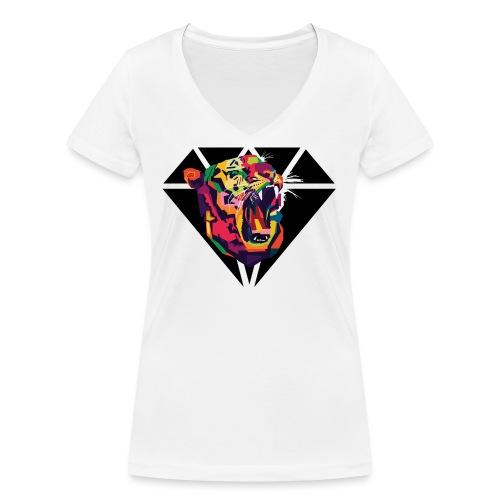 Tiger Hipster Design - Frauen Bio-T-Shirt mit V-Ausschnitt von Stanley & Stella