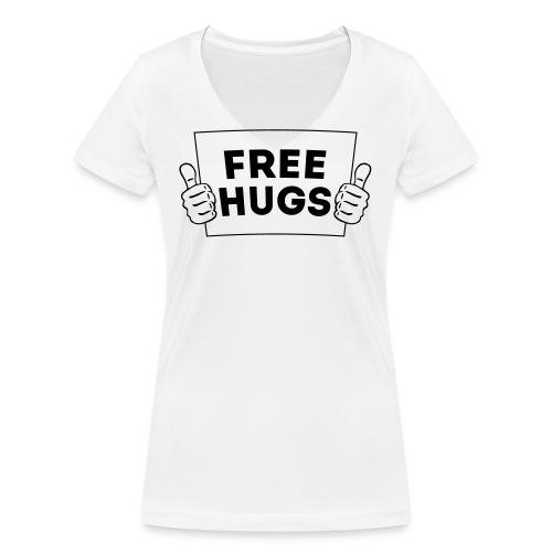 FREE HUGS! Daumen Hoch / Like Schild 1C - Frauen Bio-T-Shirt mit V-Ausschnitt von Stanley & Stella