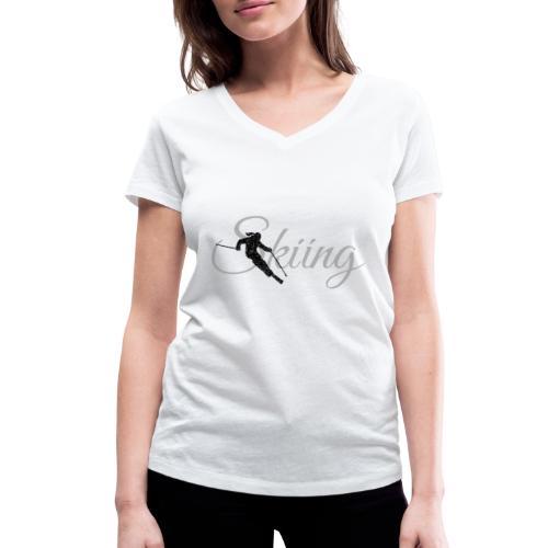 Skiing Skifahrerin (Grau) Wintersport Apres-Ski - Frauen Bio-T-Shirt mit V-Ausschnitt von Stanley & Stella