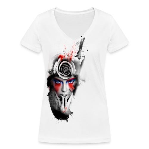 Passionrose - T-shirt ecologica da donna con scollo a V di Stanley & Stella