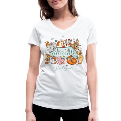 love all animals - go vegan - Women's Organic V-Neck T-Shirt by Stanley & Stella