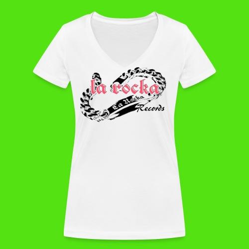 La Rocka - white'n'pink2 - Women's Organic V-Neck T-Shirt by Stanley & Stella