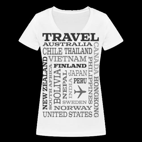 Travel Places Gray design - Stanley & Stellan naisten v-aukkoinen luomu-T-paita