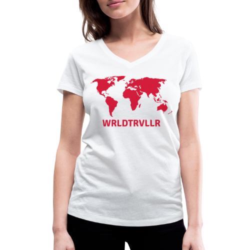 Worldtraveller - Frauen Bio-T-Shirt mit V-Ausschnitt von Stanley & Stella