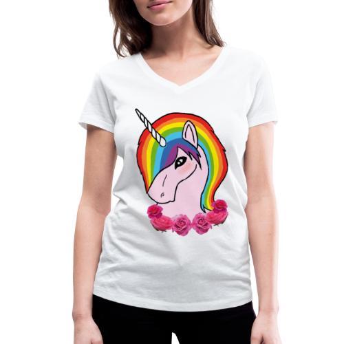 rainbow unicorn png - T-shirt ecologica da donna con scollo a V di Stanley & Stella