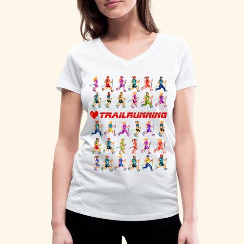 LOVE TRAILRUNNING PIXEL - T-shirt ecologica da donna con scollo a V di Stanley & Stella