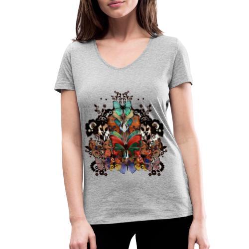 Pizzo e farfalle - T-shirt ecologica da donna con scollo a V di Stanley & Stella