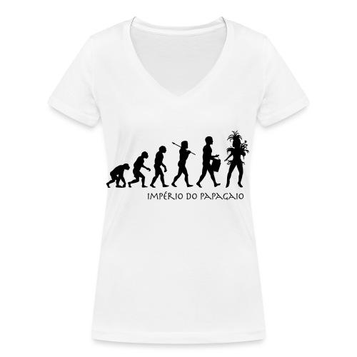The Evolution of Samba - Stanley & Stellan naisten v-aukkoinen luomu-T-paita
