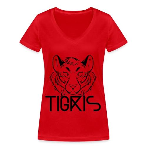 Tigris Logo Picture Text Black - Women's Organic V-Neck T-Shirt by Stanley & Stella