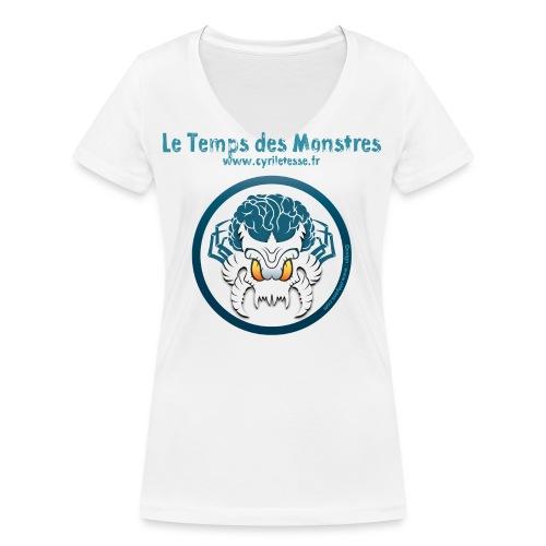 tshirt-monstre-fond-blanc - T-shirt bio col V Stanley & Stella Femme
