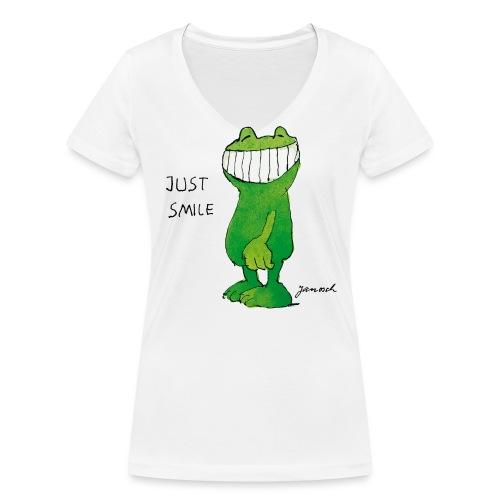 Janoschs Günter Kastenfrosch Just Smile - Frauen Bio-T-Shirt mit V-Ausschnitt von Stanley & Stella