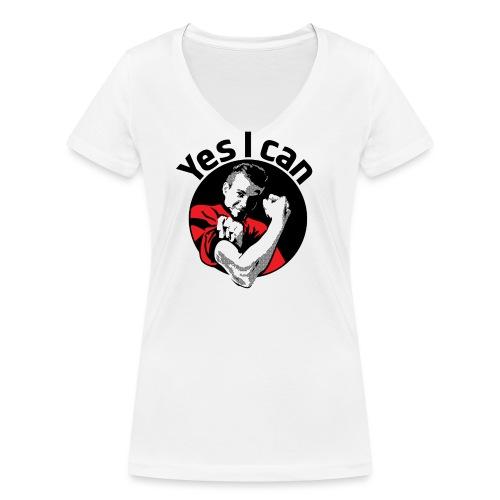 Yes I can zwart - Vrouwen bio T-shirt met V-hals van Stanley & Stella