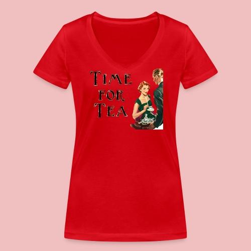 Time For Tea - Women's Organic V-Neck T-Shirt by Stanley & Stella