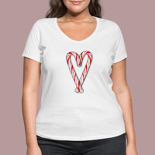 Sucre d'orge en forme de coeur - T-shirt bio col V Stanley & Stella Femme