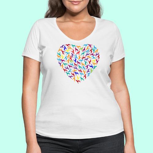 Doggen Herzensdame - Frauen Bio-T-Shirt mit V-Ausschnitt von Stanley & Stella