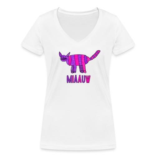 miaauw, paarse poes - Vrouwen bio T-shirt met V-hals van Stanley & Stella