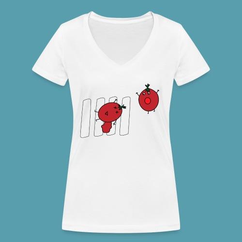tomaatit - Stanley & Stellan naisten v-aukkoinen luomu-T-paita
