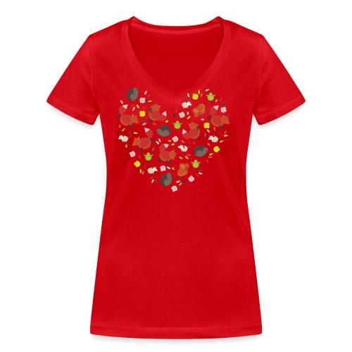 Metikössä - Stanley & Stellan naisten v-aukkoinen luomu-T-paita