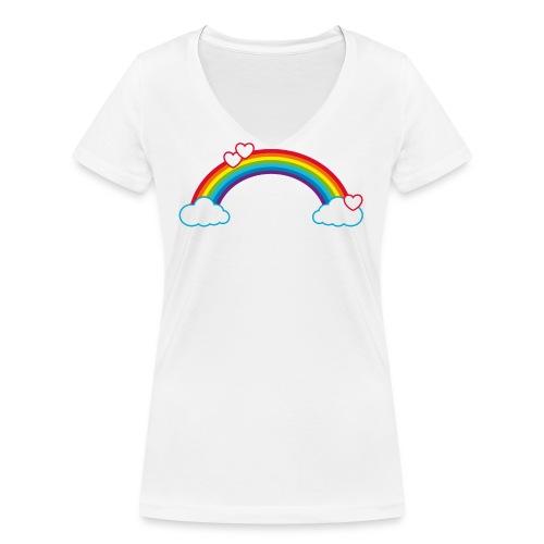 Regenbogen Sonne Herz Rainbow Cloud Heart - Women's Organic V-Neck T-Shirt by Stanley & Stella
