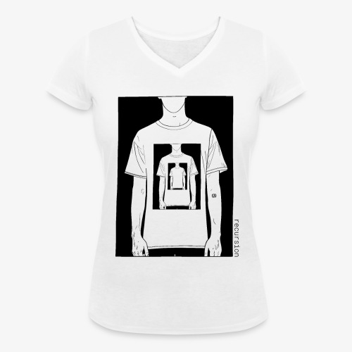 Recursion | Loop | Repeat | Optical illusion - Women's Organic V-Neck T-Shirt by Stanley & Stella