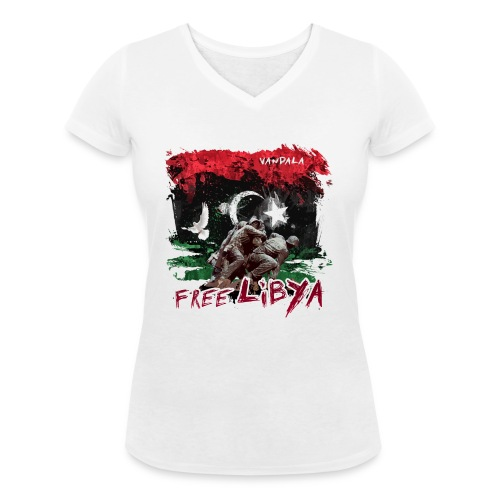 Free Libya - Frauen Bio-T-Shirt mit V-Ausschnitt von Stanley & Stella