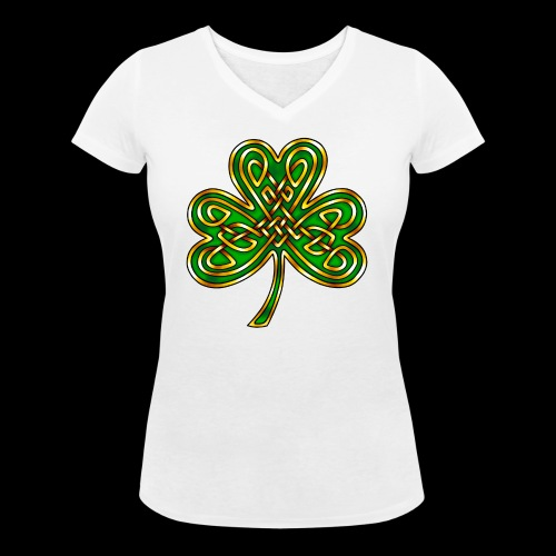Celtic Knotwork Shamrock - Women's Organic V-Neck T-Shirt by Stanley & Stella