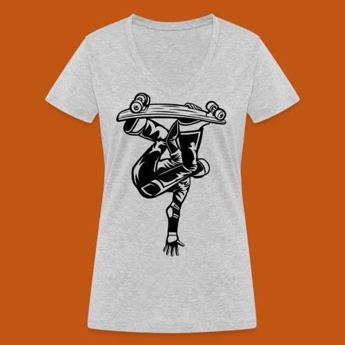 Skater / Skateboarder 03_schwarz - Frauen Bio-T-Shirt mit V-Ausschnitt von Stanley & Stella