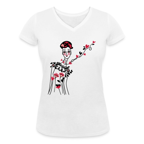 little woman of hearts - Women's Organic V-Neck T-Shirt by Stanley & Stella