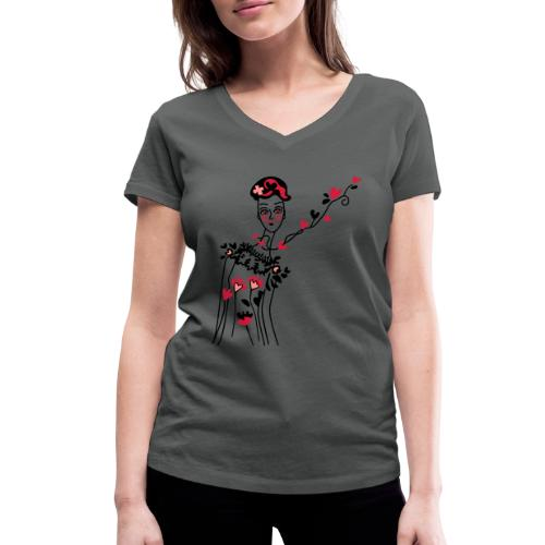 donnina di cuori - T-shirt ecologica da donna con scollo a V di Stanley & Stella