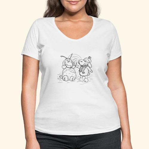 Schaf - Miss you schwarz - Frauen Bio-T-Shirt mit V-Ausschnitt von Stanley & Stella