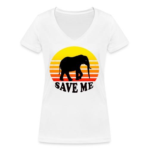 Elefant SAVE ME Schattenriss Sonne - Frauen Bio-T-Shirt mit V-Ausschnitt von Stanley & Stella
