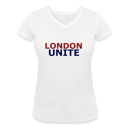 London Unite White T-Shirt - Women's Organic V-Neck T-Shirt by Stanley & Stella